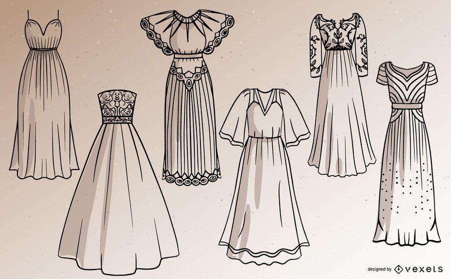 Women Long Dress Stroke Design Set
