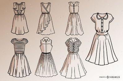 Pacote de design de estilo de traçado de vestido curto