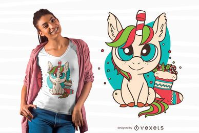 Diseño lindo de camiseta de unicornio de Navidad
