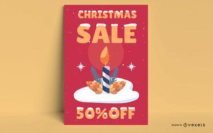 Pôster de venda de velas de natal