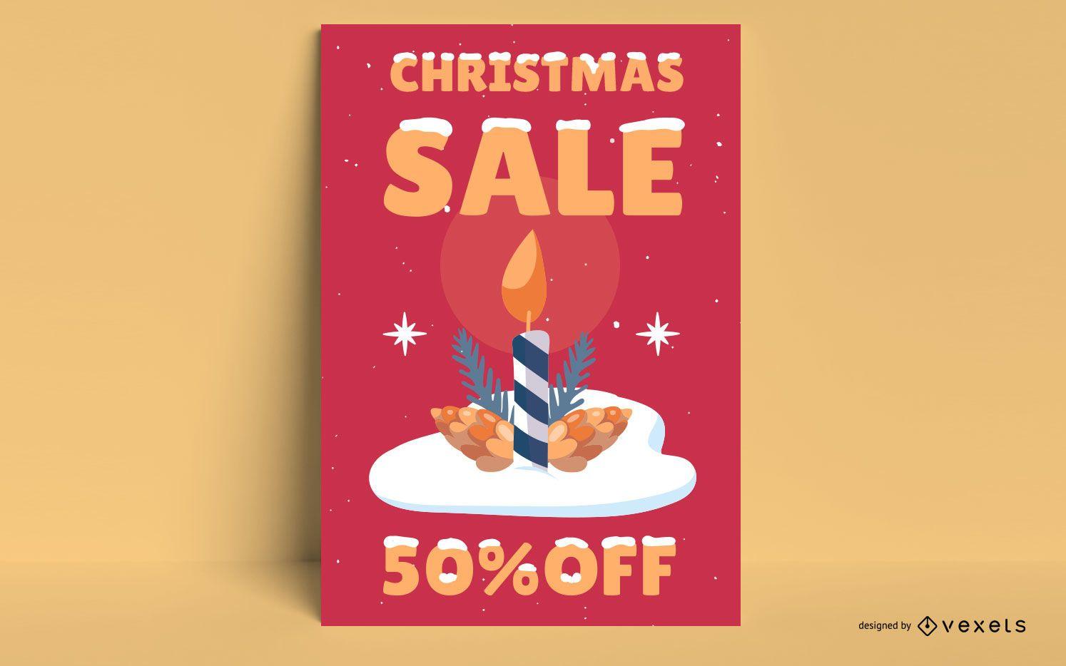 Cartel de venta de velas de navidad