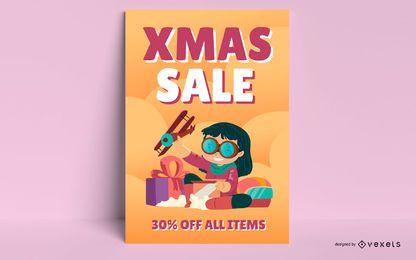 Cartaz infantil de promoção de natal