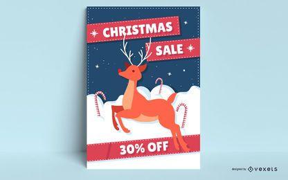 Cartel de venta de navidad rudolph