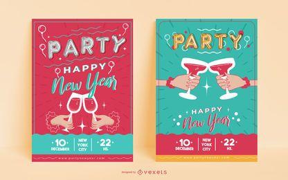 Convites de pôster de festa de ano novo