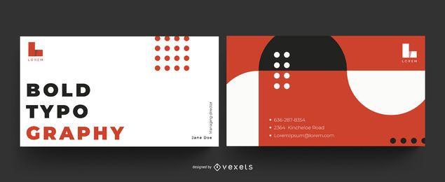 Cartão de visita em negrito tipografia
