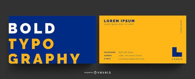 Cartão de visita corajoso da cor da tipografia