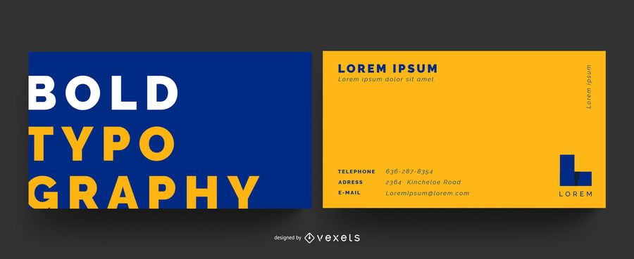 Tarjeta de visita de color de tipografía audaz