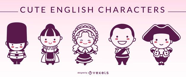 Cute english characters silhouettes