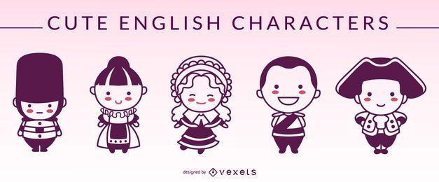 Süße englische Zeichen Silhouetten