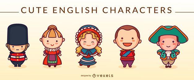Conjunto de personagens fofinhos em inglês