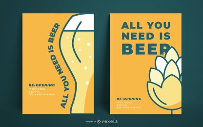 Plantilla simple de póster de cerveza