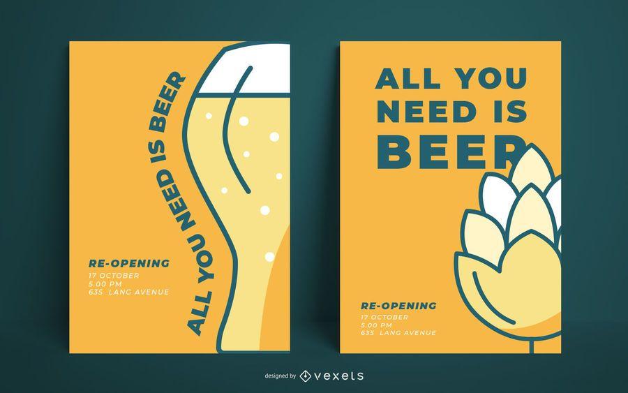 Plantilla de cartel de cerveza simple