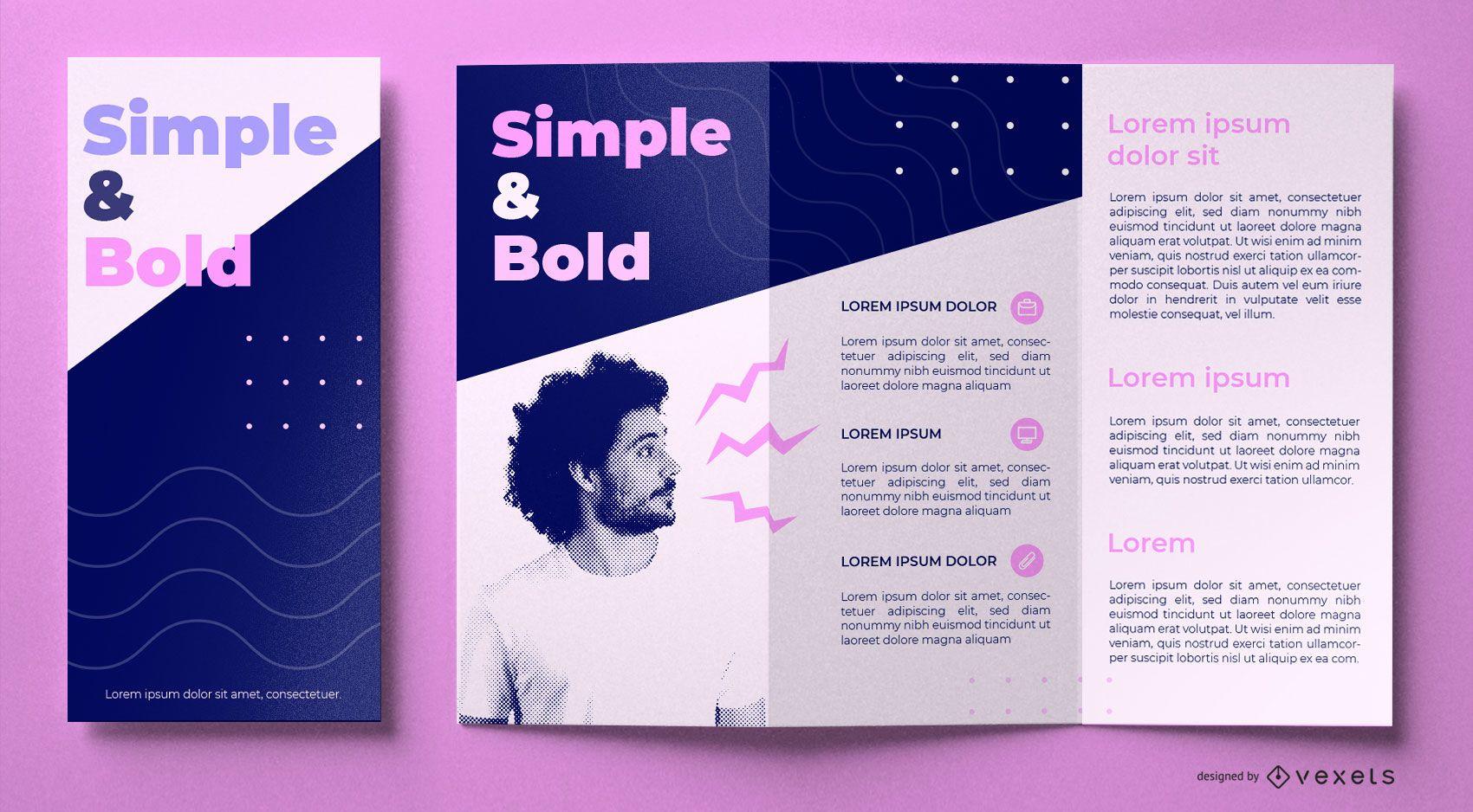 Diseño de folleto editable en negrita simple