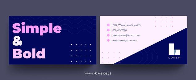 Diseño de tarjeta de visita en negrita simple