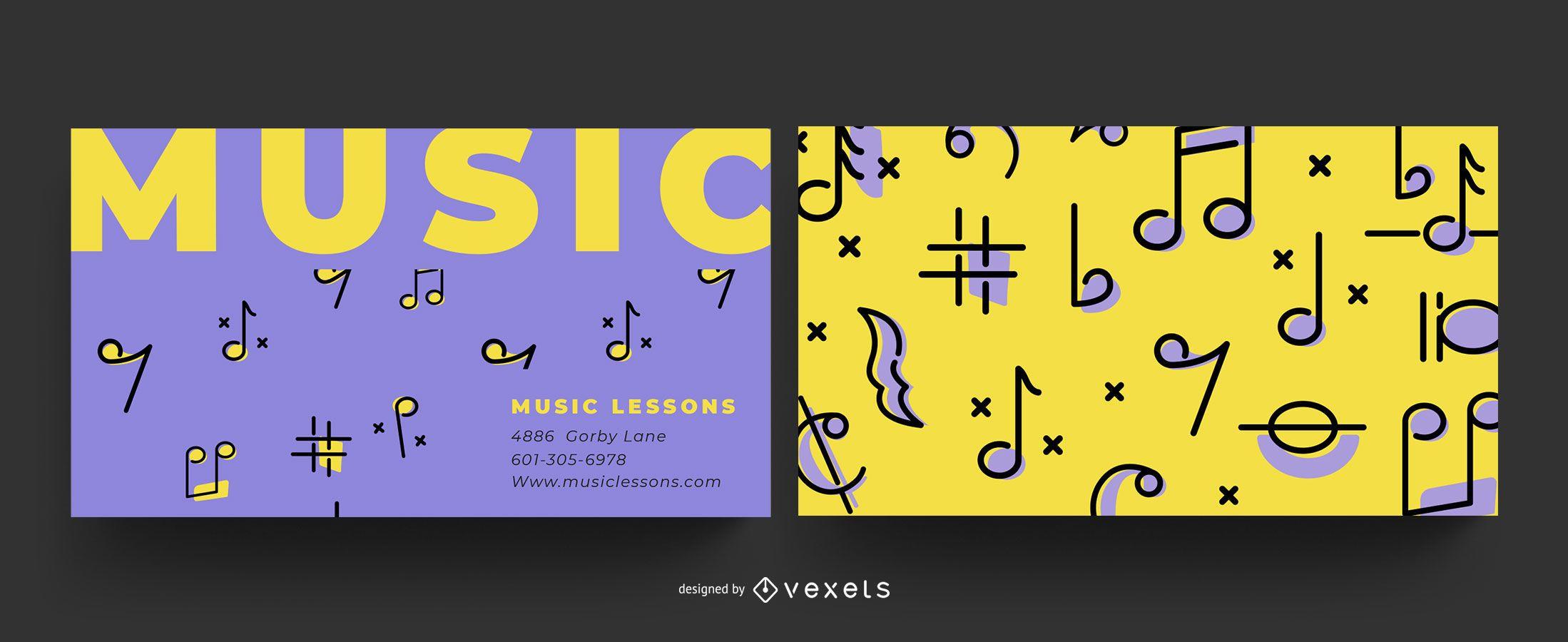 Design de cartão de visita musical