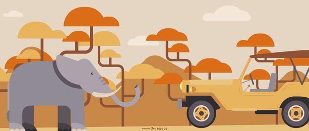 Ilustração plana de safari