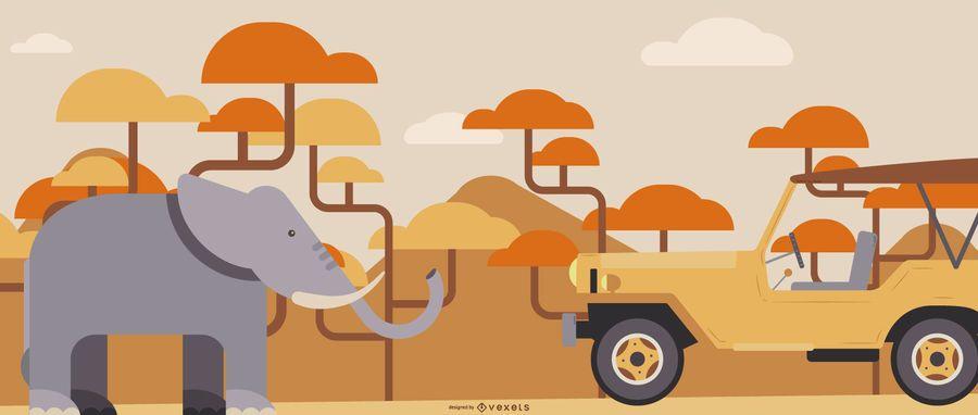 Ilustración plana Safari