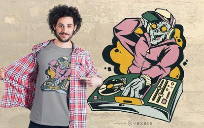 Diseño de camiseta Zombie DJ