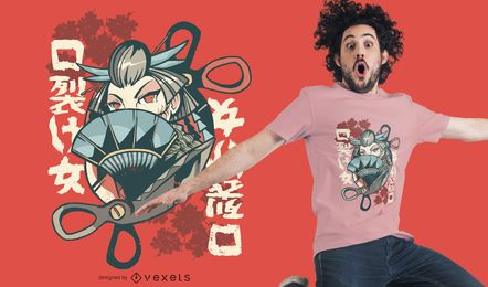 Diseño de camiseta de mujer japonesa Kuchisake-onna