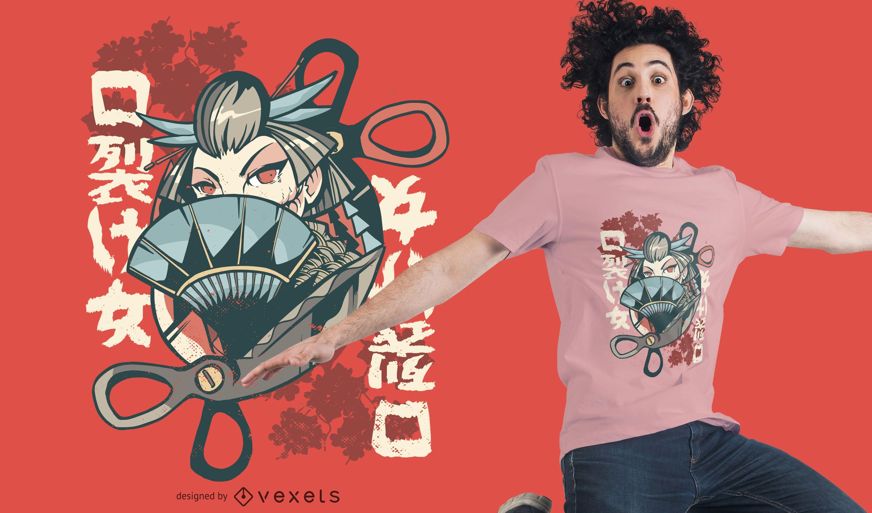 Dise?o de camiseta de mujer japonesa Kuchisake-onna
