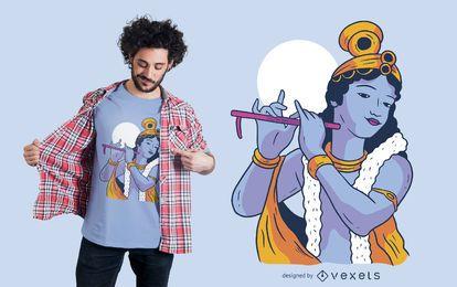 Design de t-shirt de deus Krishna