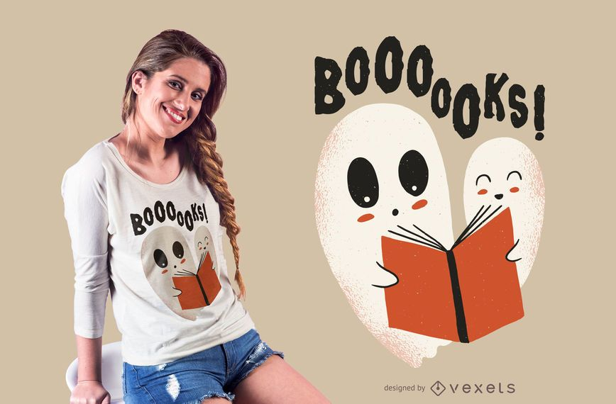 Design de t-shirt de fantasmas de livros
