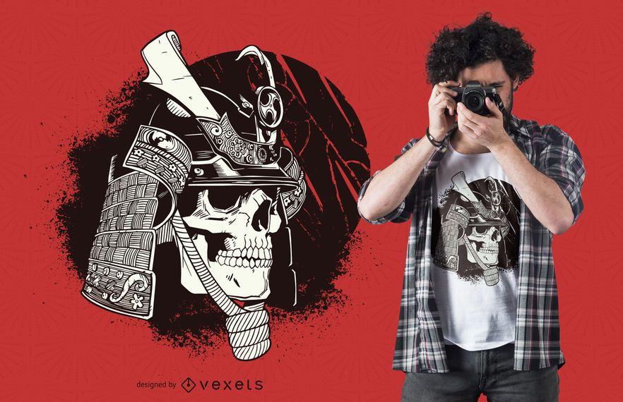 Diseño de camiseta de calavera samurai