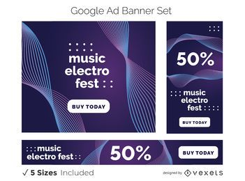 Electro music banner set