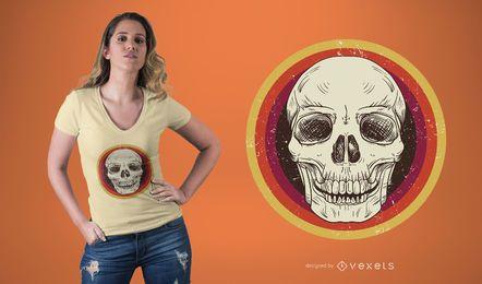 Design retro do t-shirt do crânio