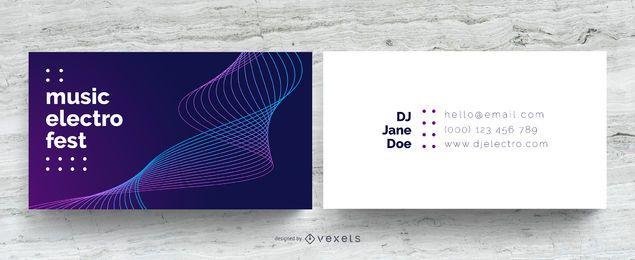 Cartão de visita de DJ de música eletrônica