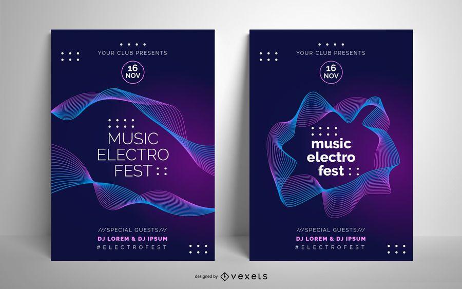 Plantilla de póster de música electro