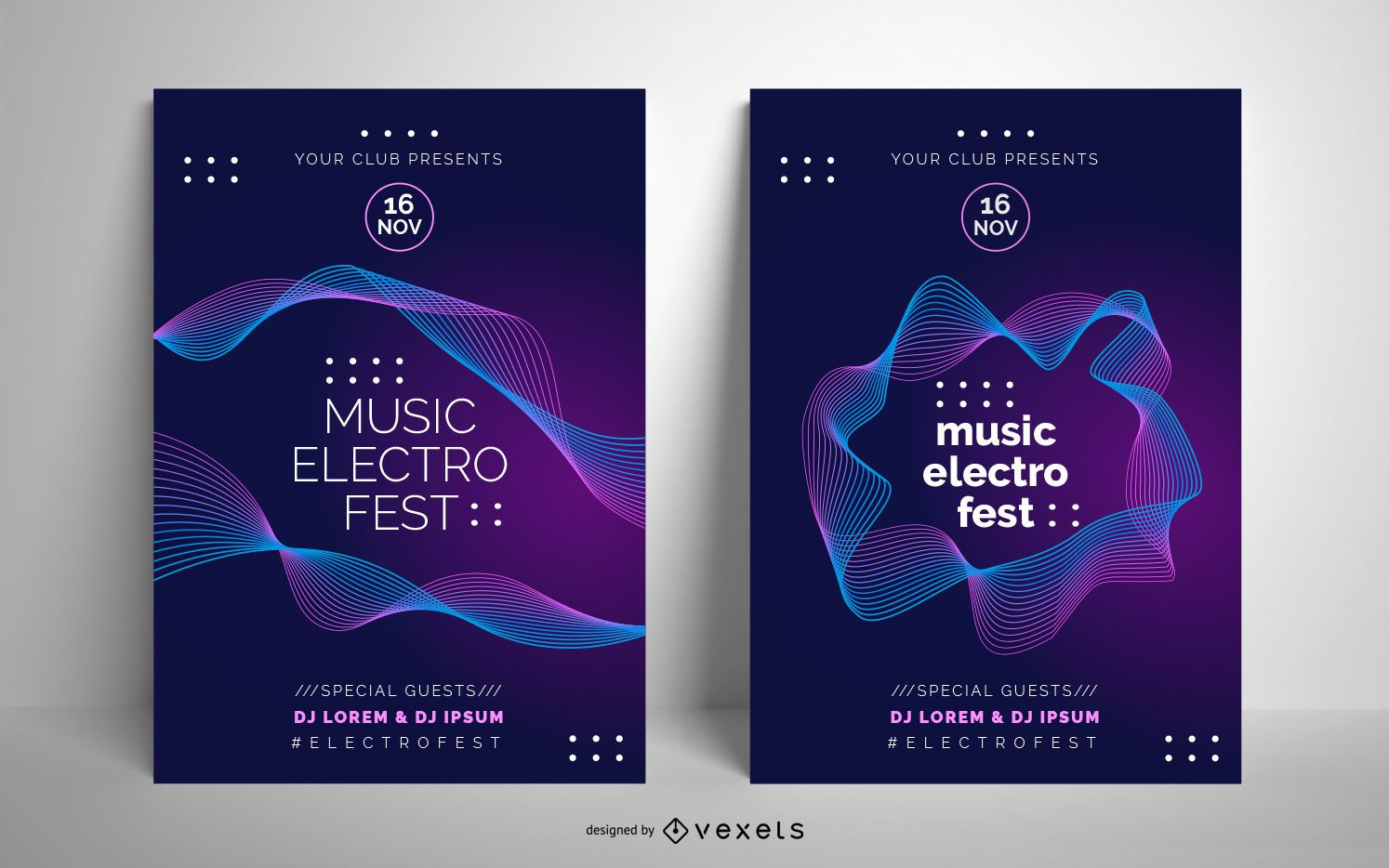 Electro music poster template