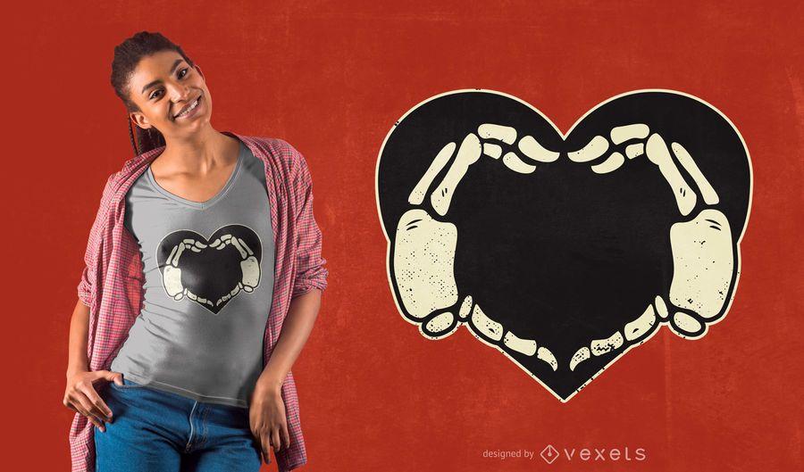 Diseño de camiseta Skeleton Hands Heart