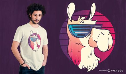 Cool Llama Retro T-shirt Design
