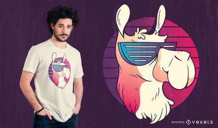 Kühler Lama-Retro T-Shirt Entwurf