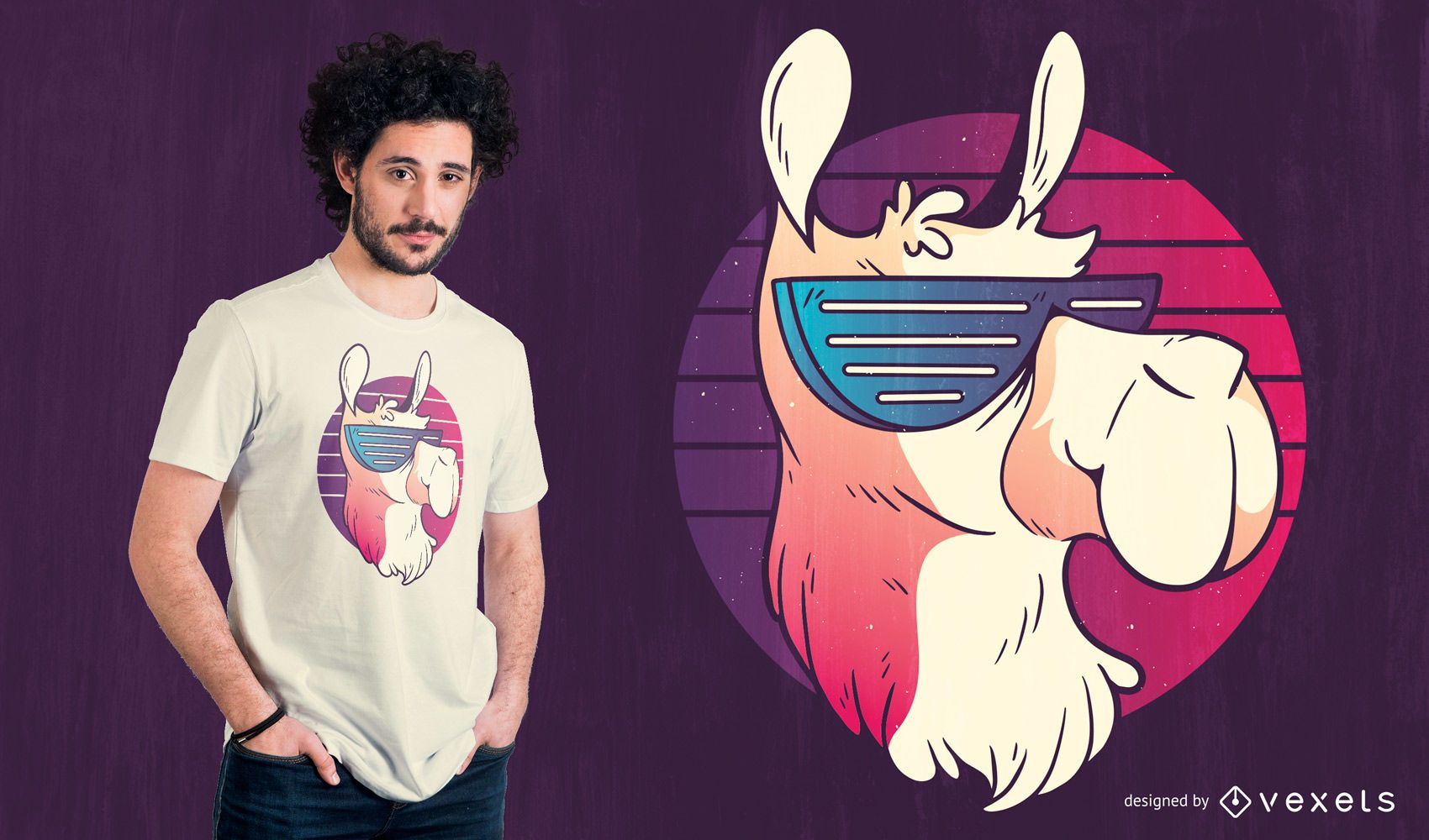 Cool Llama Retro T-shirt Design