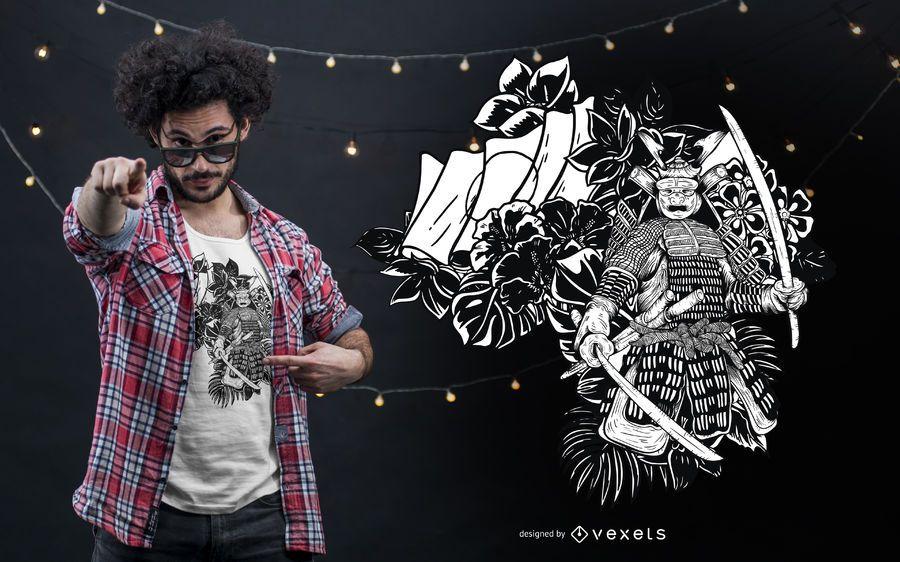 Diseño de camiseta samurai en blanco y negro
