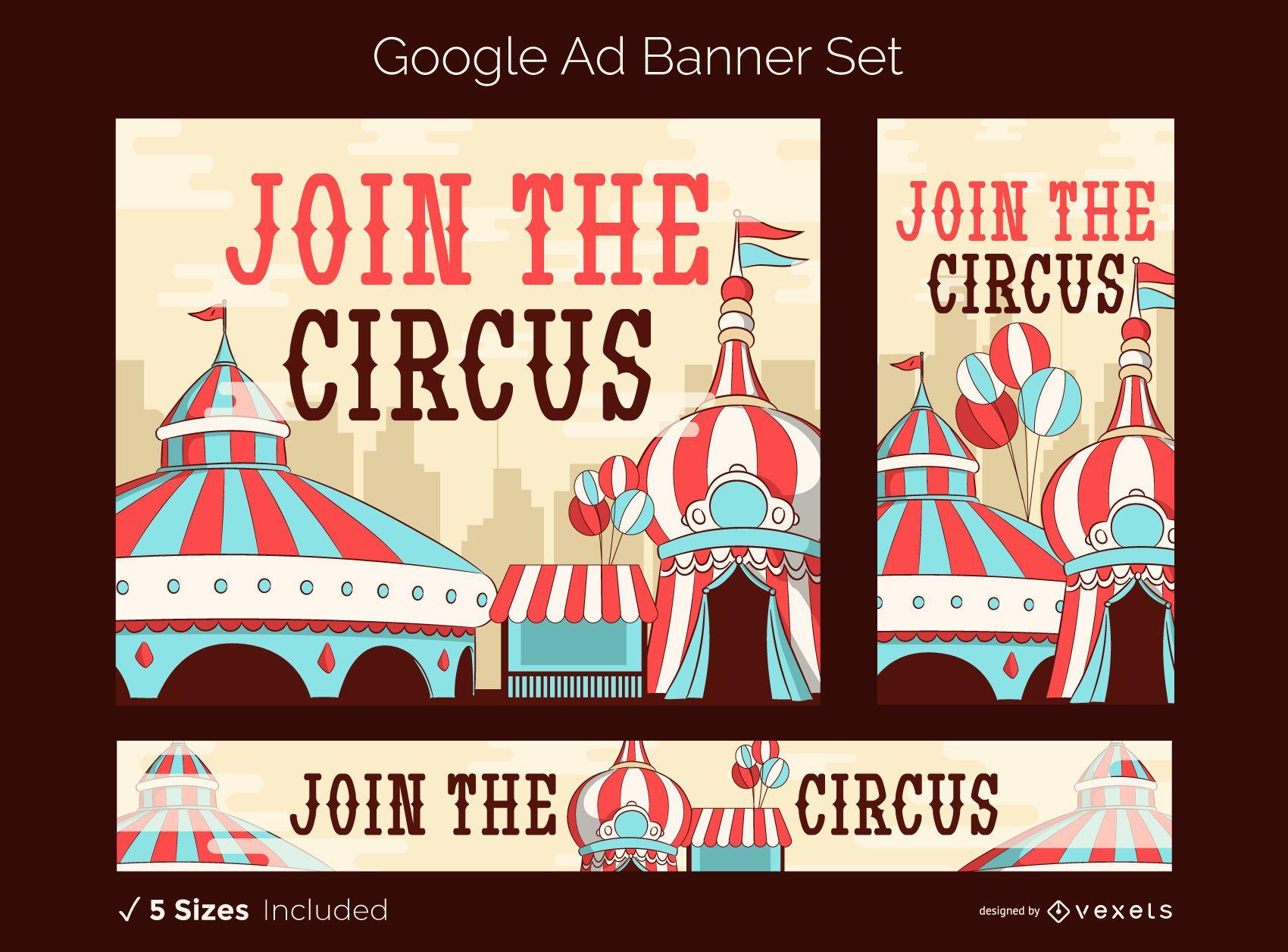 Conjunto de banner publicitario de circo