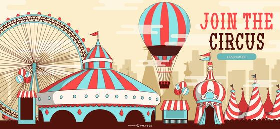 Junte-se ao design de banner editável de circo