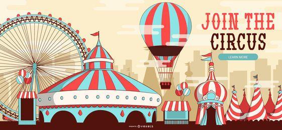 Junte-se ao design de banner editável do circo