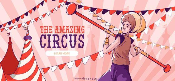 Banner editable de circo increíble