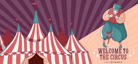 Banner editável de boas-vindas do circo