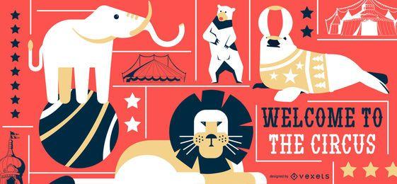 Banner editável de animais de circo