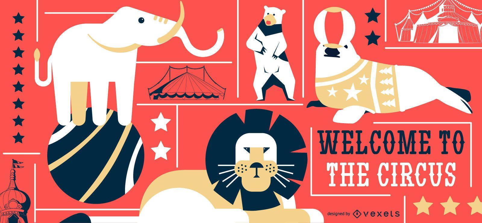 Circus animals editable banner
