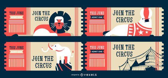 Bilhetes editáveis de animais de circo