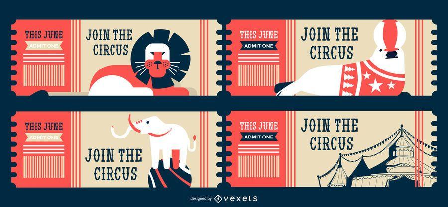 Circus animals editable tickets
