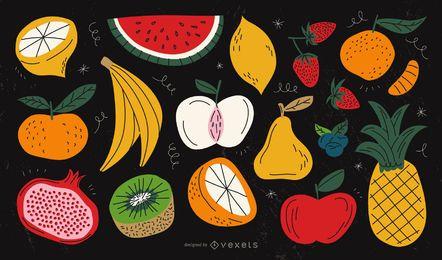 Coleção colorida de frutas