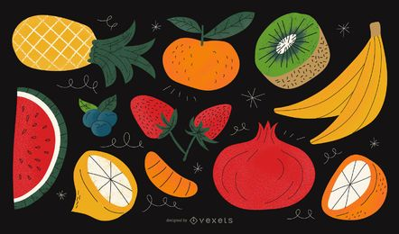 Textured fruits vector collection