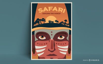 Safari man poster template