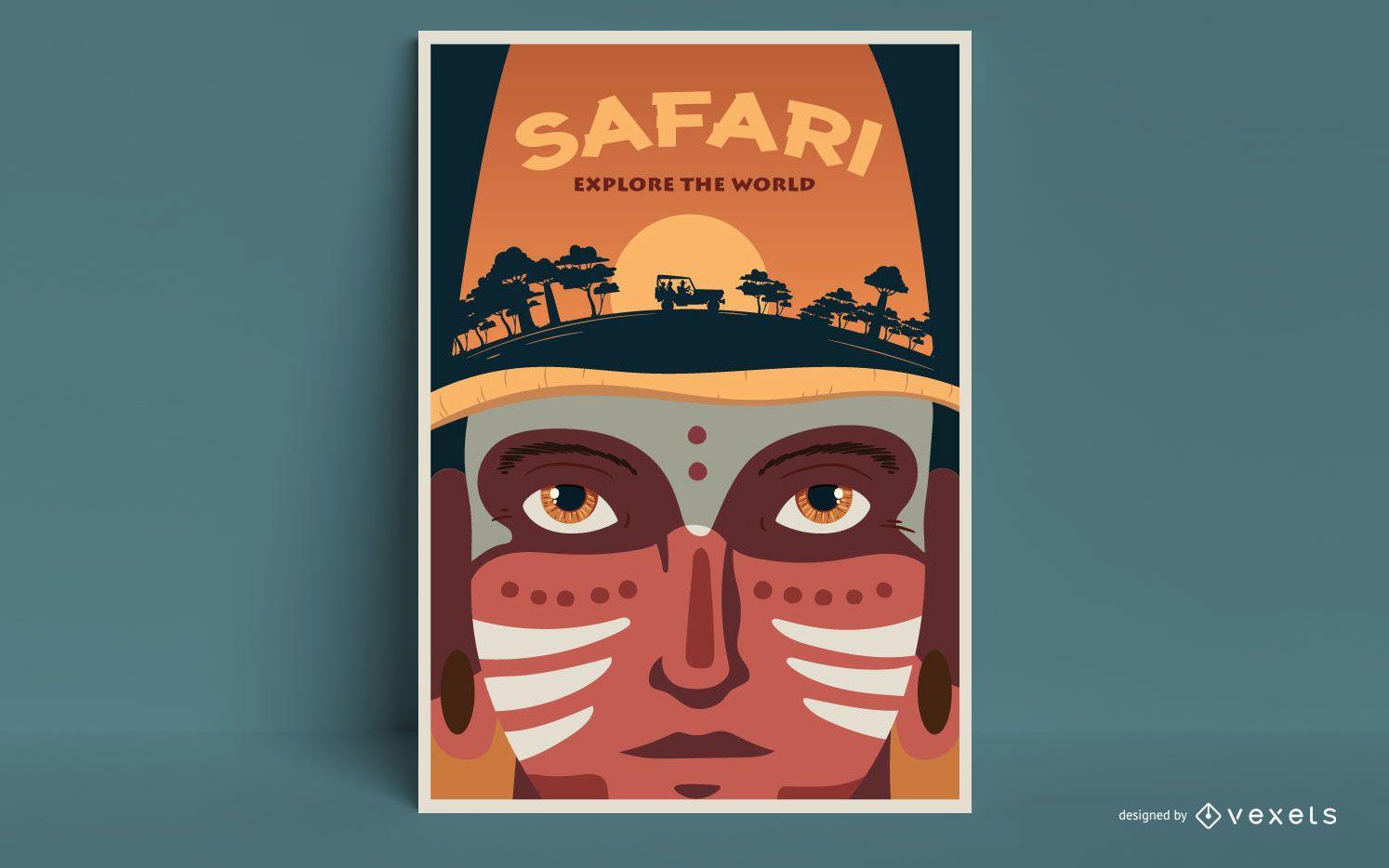 Plantilla de cartel de hombre safari